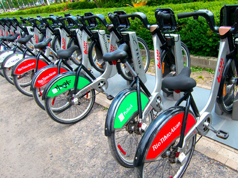 A row of Telus bikes, which are part of the Montreal Bixi bike-sharing program