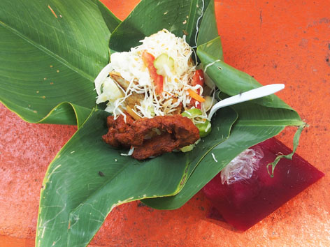 Vigoron is a popular street food in Granada, Nicaragua