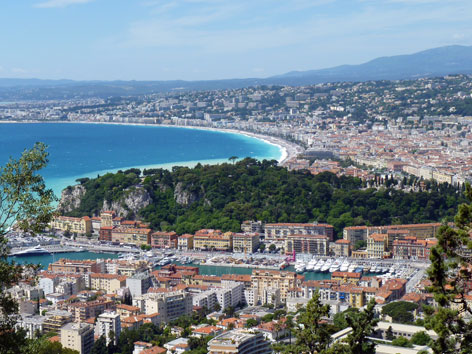 Aerial view of the coast in Nice, France