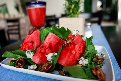 Watermelon salad with goat cheese from the Ginger Hotel in Tulum, Mexico