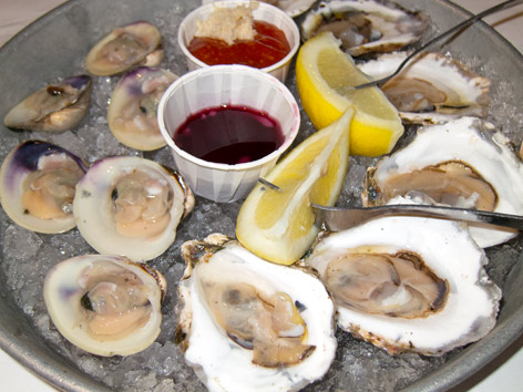Raw local oysters and clams in Rhode Island