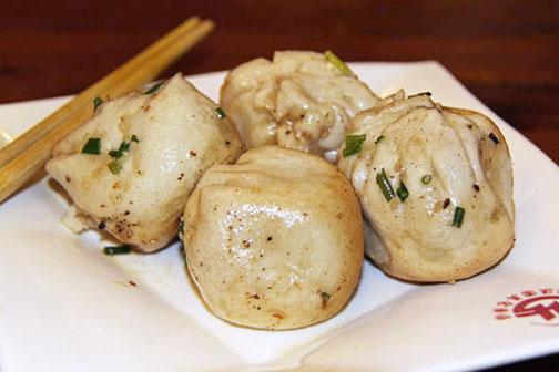 Sheng jian bao, pan-fried soup dumplings, in Shanghai