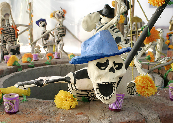 Papier-mâché skeletons in Oaxaca for the Day of the Dead