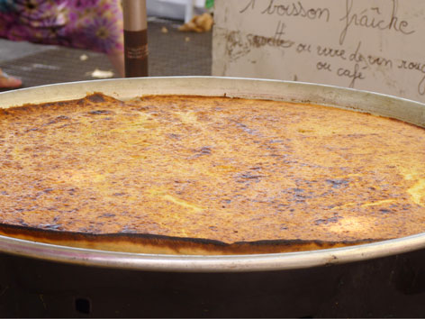 La socca, a pancake traditional to Nice, France