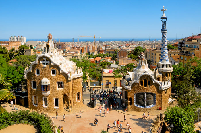 An overhead view of Parc Guell in Barcelona, Spain
