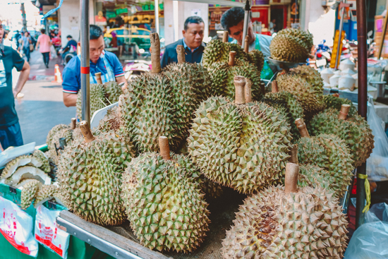 Vendor selling durian in Bangkok, Thailand