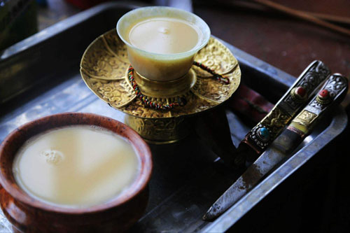 Tibetan yak butter tea served in teacups