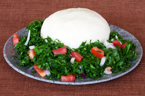 Platter of maize ugali, an important staple food in Kenya.