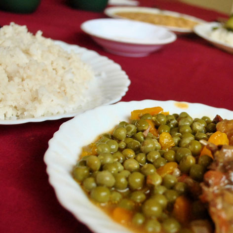 Vary sy loka, a rice dish with chicken and peas from Madagascar