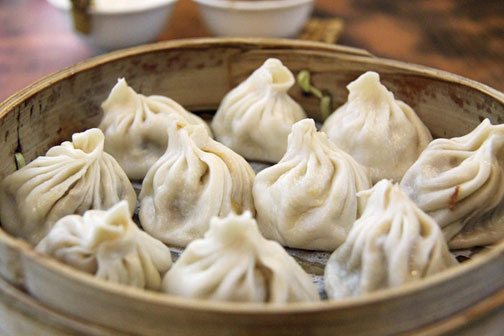 Xiao long bao soup dumplings in Shanghai
