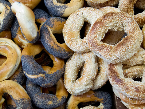 Montreal-style bagels, in Montreal, Quebec