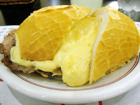 Bauru, a popular roast beef and cheese sandwich in Sao Paulo, Brazil