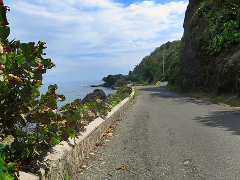 Beach road in Port Antonio, Jamaica
