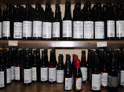 Selection of Dutch beers at De Bierkoning, a shop in Amsterdam