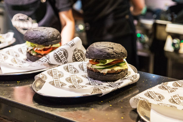 Black burgers colored by squid ink in Ulaanbaatar, Mongolia
