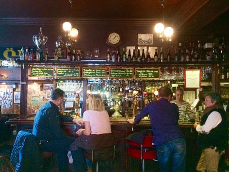 Interior bar at Bullen, a restaurant in Malmo, Sweden