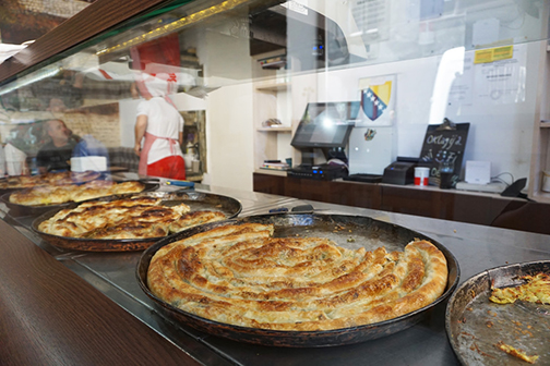 Burek displays at a shop in Sarajevo, Bosnia