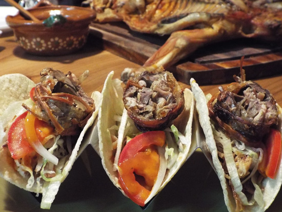 Cabrito, or goat, tacos topped with machitos, small intestines, in Monterrey, Mexico.