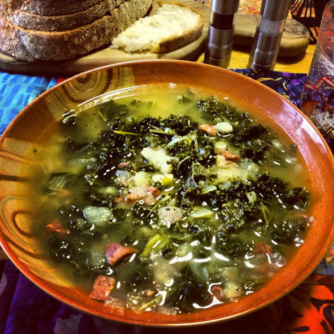 Recipe for Portuguese kale soup, also called caldo verde, with local roots in Cape Cod