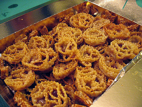 A tray of cartellate, typical Christmas sweets from Puglia, Italy