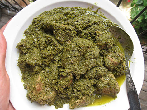 Ravitoto is made from pounded cassava leaves in Madagascar