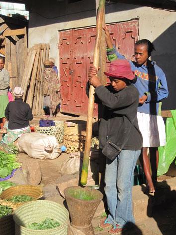 Pounding cassava for ravitoto in Madagascar