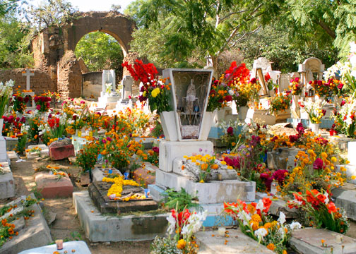 A grave decorated for the Day of the Dead in Oaxaca