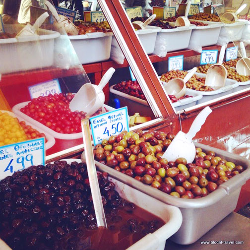 Olives at Central Market in Athens, Greece