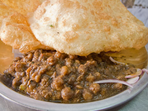Chole bhature in Delhi, made with healthy turmeric