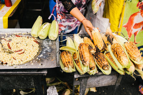 Esquites and roasted corn in La Merced Market in Mexico City