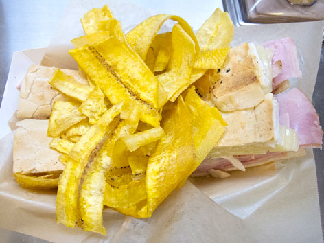 Cuban sandwich and plantain chips from Latin American Grill in Marlins Park, Miami