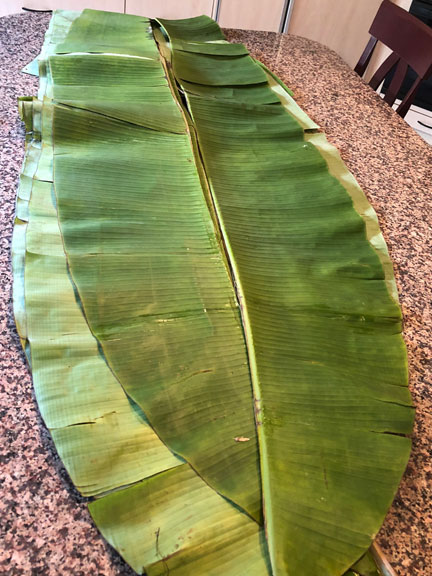 Long banana leaves before being prepared for cooking in a home kitchen.