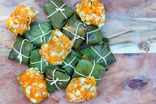 Homemade ducana, or sweet potato dumplings, after being cooked in banana leaf.