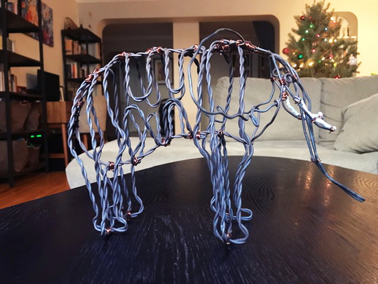 An elephant sculpture made out of poachers' snare wires from Snares to Wares