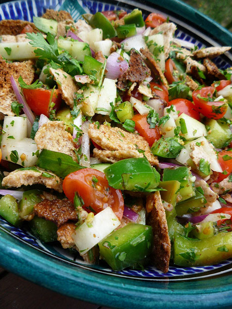 Fattoush, a Middle Eastern salad, in Dubai