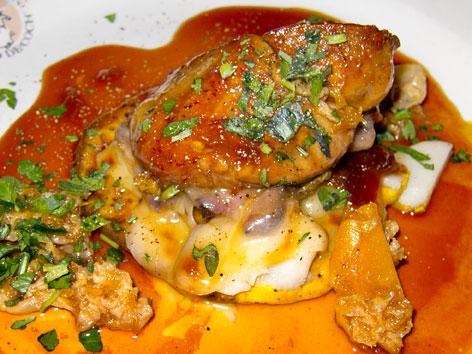 A foie gras dish, the Plogue a Champlain, from Au Pied de Cochon in Montreal
