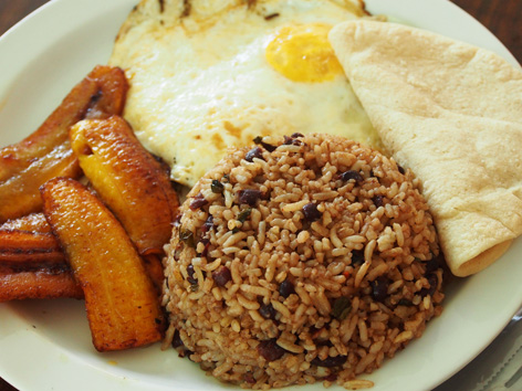 Typical breakfast with gallo pinto, from a soda in Costa Rica