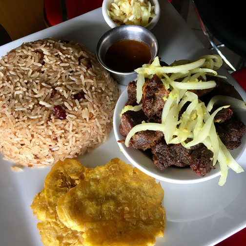 Haitian food from a restaurant in south Florida