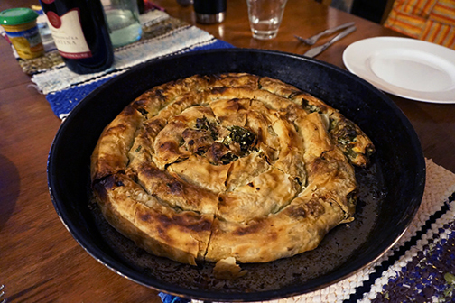 Homecooked, browned spinach and cheese burek, or pita, in Bosnia and Herzegovina