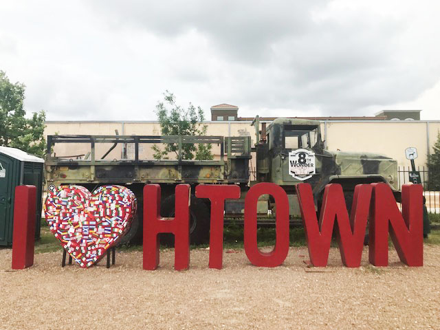I love Houston sign at 8th Wonder Brewing, Houston, Texas.