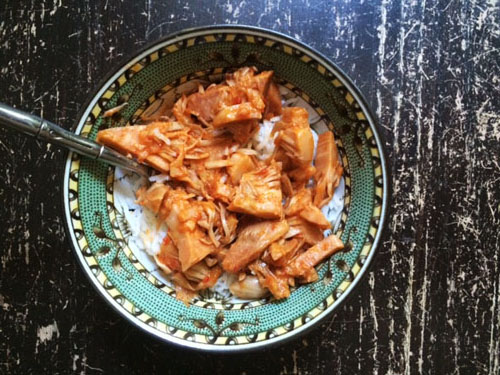 Carnitas-style jackfruit over rice, from Upton's Naturals.