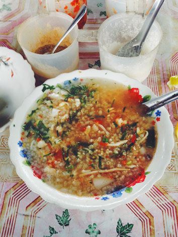 Bowl of Khmer bor bor rice porridge from Cambodia