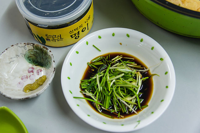 Korean greens in wasabi soy sauce