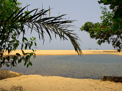 Lagoon on John Obey beach, Freetown Peninsula, Sierra Leone