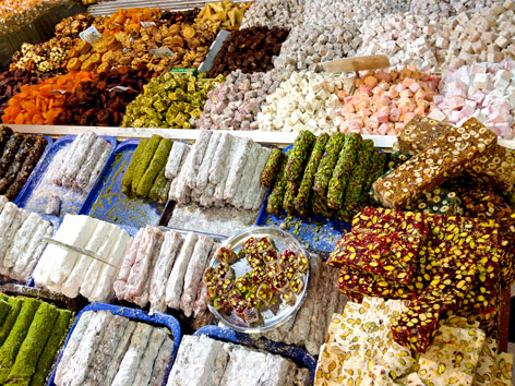 Turkish delight in the Spice Bazaar, Istanbul, Turkey