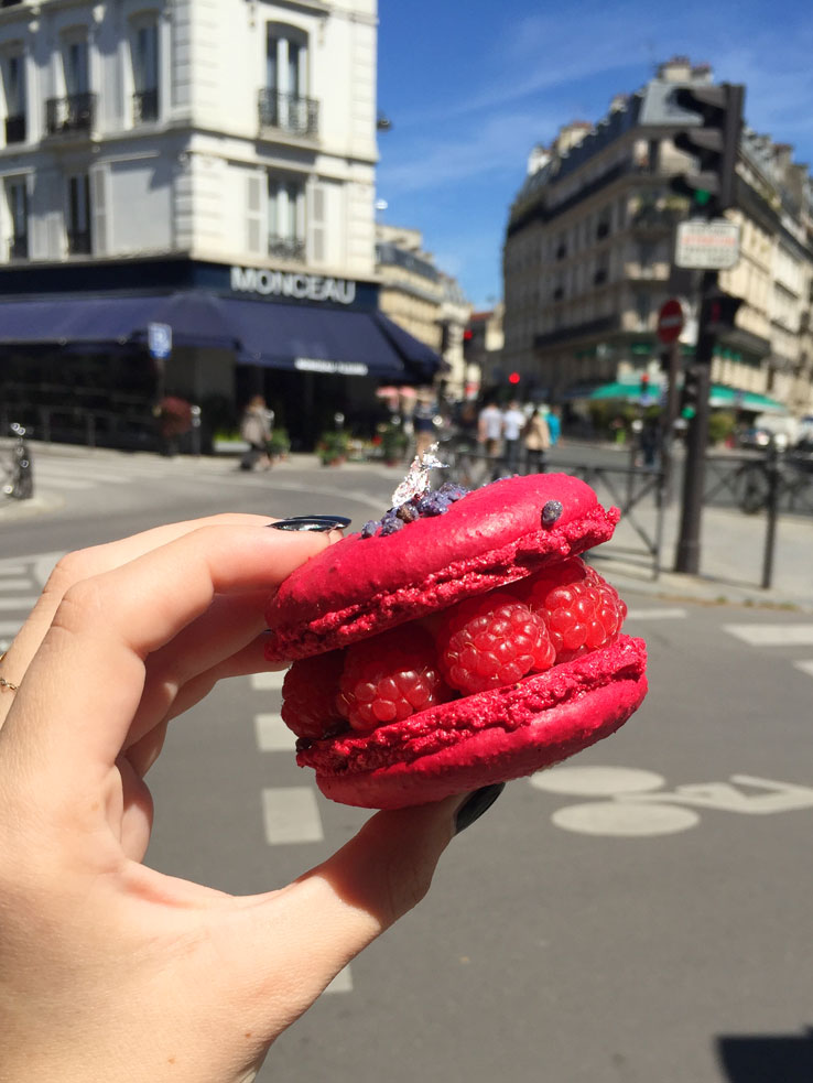 Marie-Antoinette pastry, a raspberry macaron, at Carl Marletti in Paris