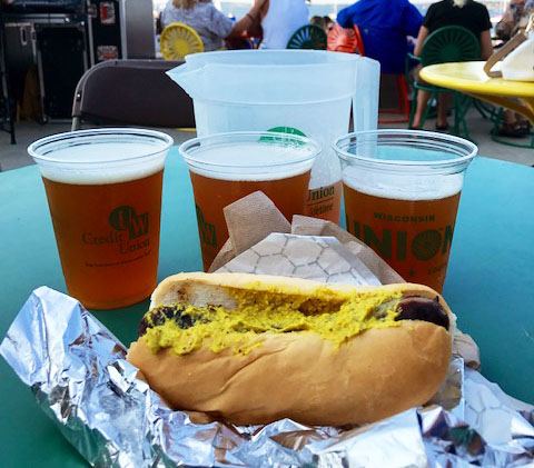 Beer and brats on the Memorial Union Terrace in Madison, Wisconsin