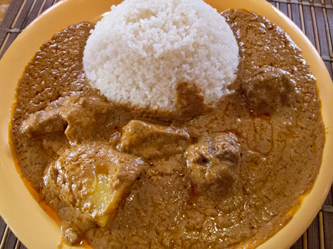 Mafe with rice, from a restauant in Dakar, Senegal