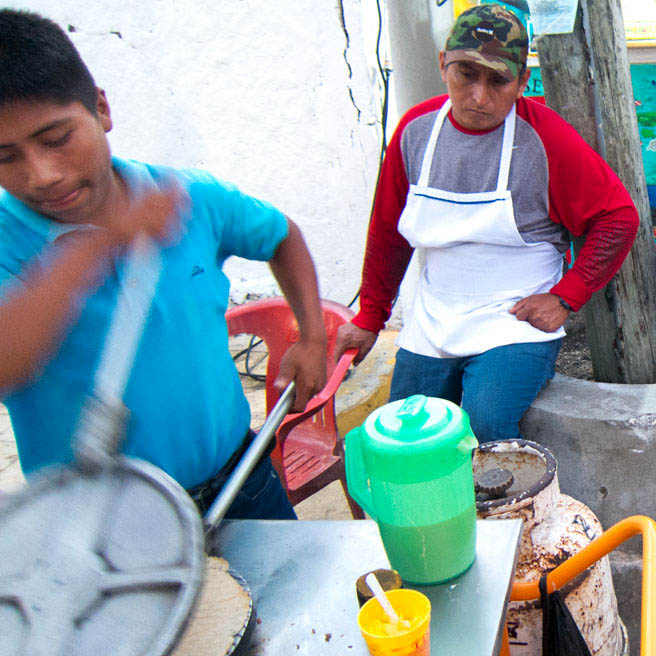 A marquesita vendor in Yucatan, Mexico