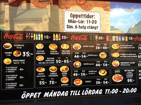 Menu at La Empanada in Malmo, Sweden